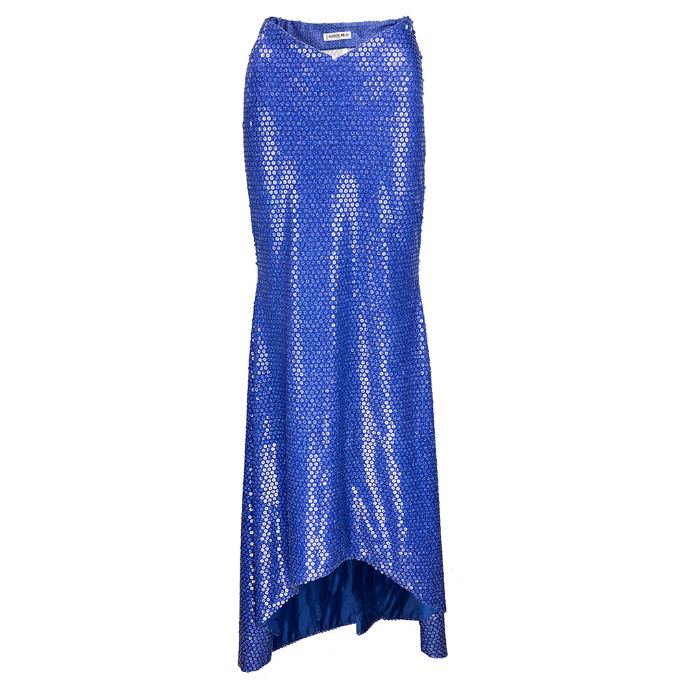 Vintage KELLY 80s Blue Sequin Mermaid Evening Skirt