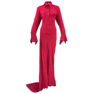 Vintage PEARCE-FIONDA 90s  Red Crepe Bias-Cut Maxi Dress