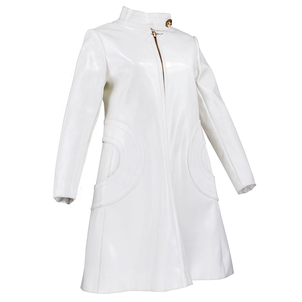 Vintage CARDIN 60s Super Mod White Patent Coat , side