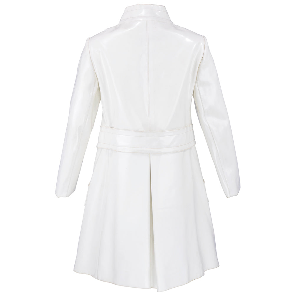 Vintage CARDIN 60s Super Mod White Patent Coat , back
