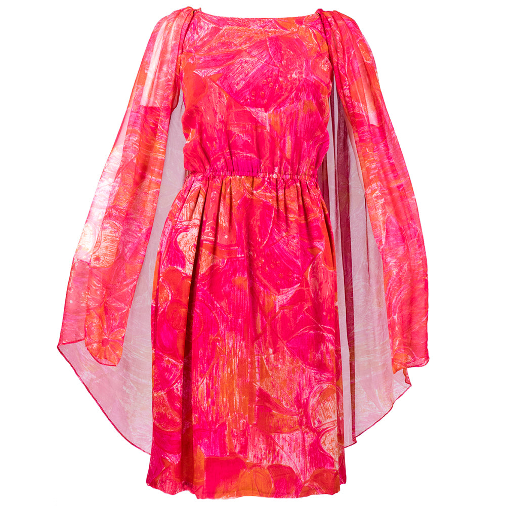 Vintage CARDIN 60s Tropical Floral Silk Cape & Dress