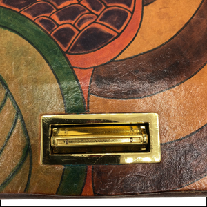 70s Elyse Stone Hand Painted Leather Clutch DETAIL 3 of 4