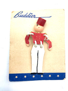 Buddies Red and White Bellhop Brooch on Card FRONT 1 of 2