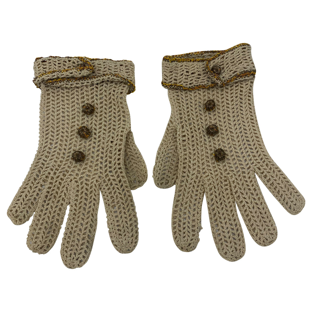 30s Gloves Tan Crochet with Bullion Buttons  FRONT 1 of 2