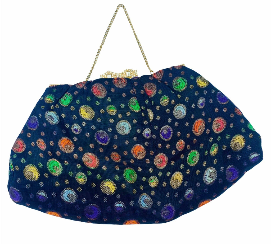 30s Evening Bag Black Lame Jacquard with Polka Dots FRONT 1 of 3