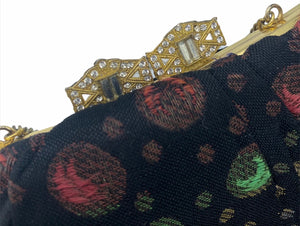 30s Evening Bag Black Lame Jacquard with Polka Dots CLASP 3 of 3