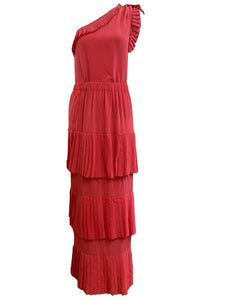 Chloe 70s Salmon Silk Pleated Skirt Ensemble FRONT 1 of 4