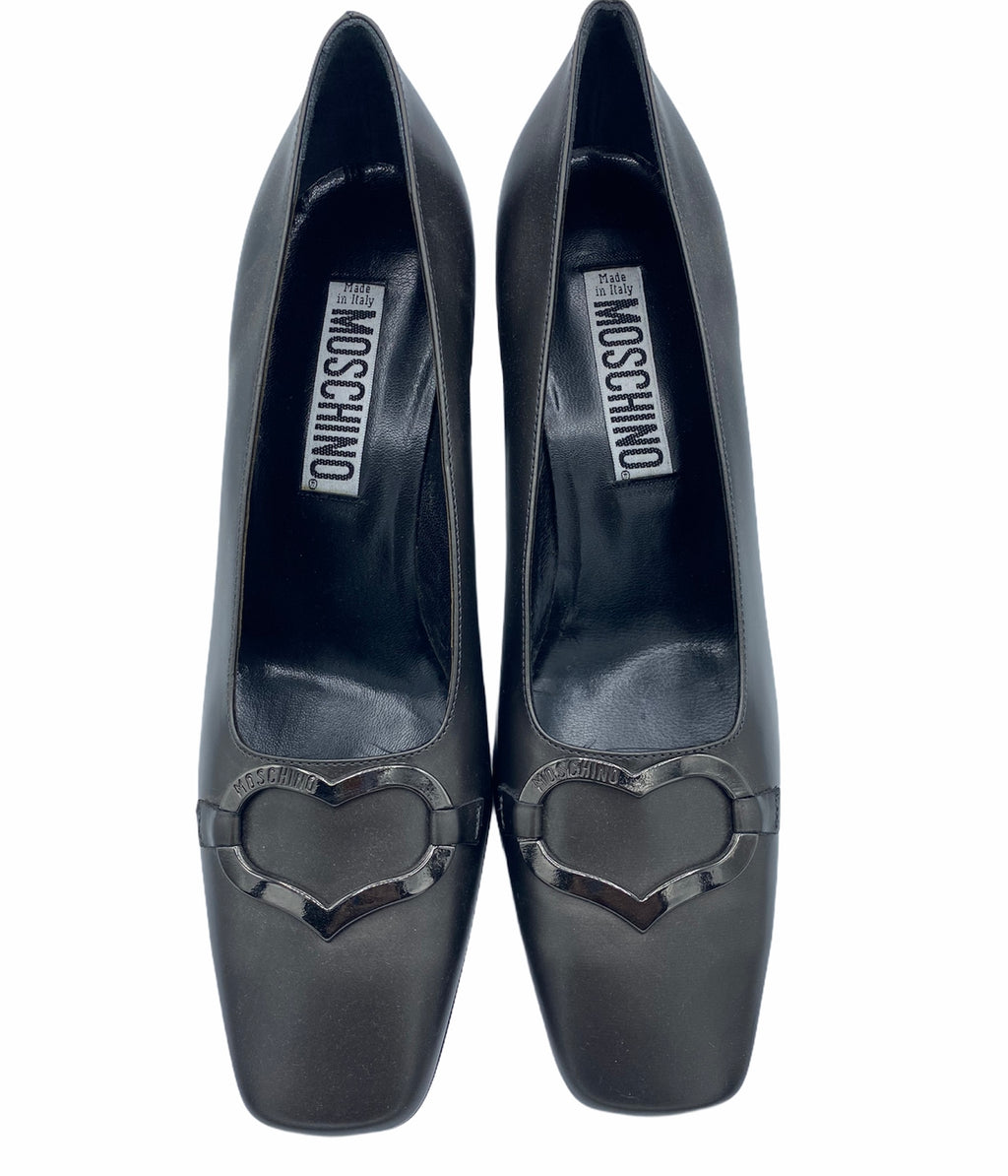 Moschino 90s Grey Pilgrim Pumps With Chrome Heart FRONT 1 of 4