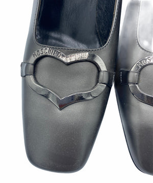 Moschino 90s Grey Pilgrim Pumps With Chrome Heart DETAIL 3 of 4