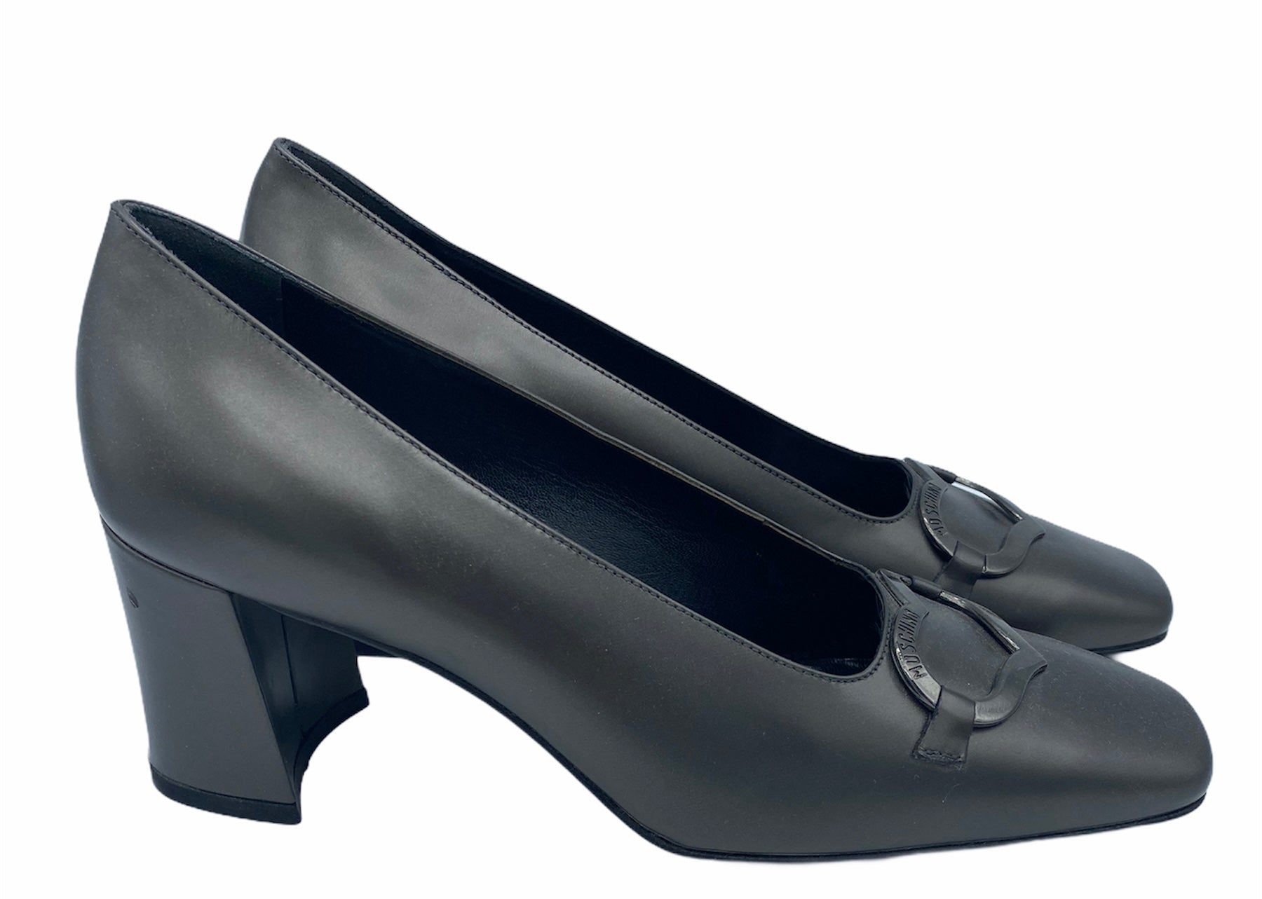 Moschino 90s Grey Pilgrim Pumps With Chrome Heart SIDE 2 of 4