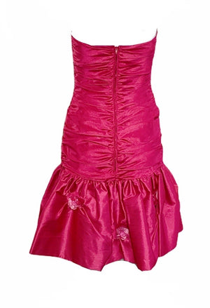 Loris Azzaro Fuschia Ruched Mini Dress  BACK 2 of 4