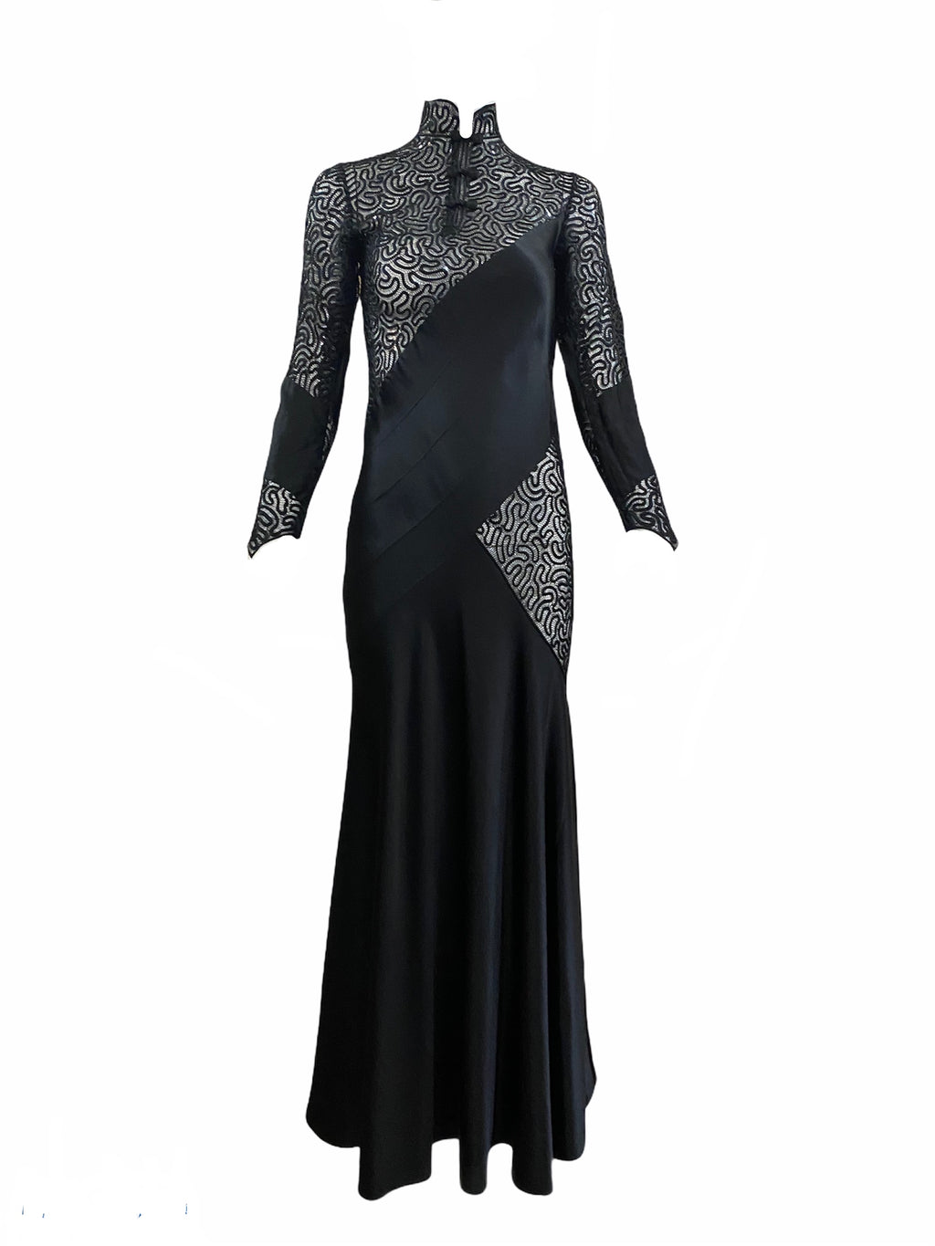 30s Siren Black Satin and Lace Gown FRONT 1 of 5
