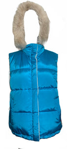 Escada Sport early 2000s Blue Nylon Puffer Vest with Detachable Hood  FRONT 1 of 4