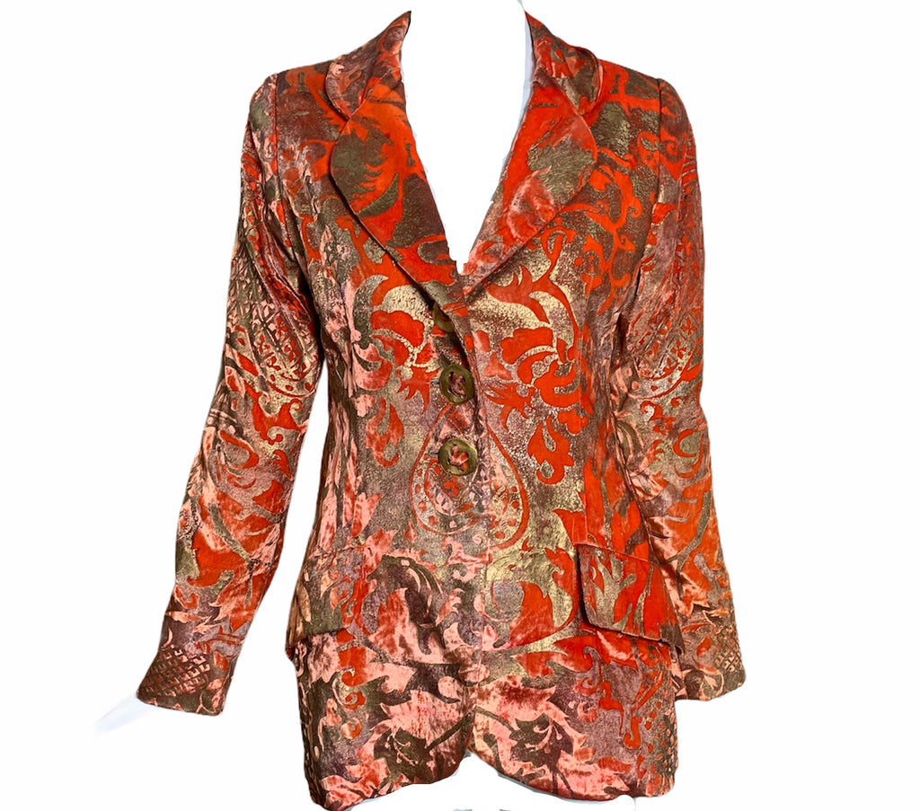 Bill Blass Orange Stencilled Velvet Blazer  FRONT 1 of 4