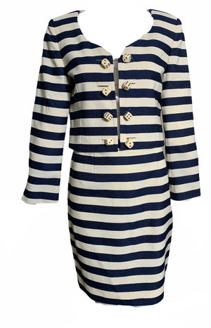 Moschino Couture Striped Ensemble with Dice Closures FRONT 1 of 6