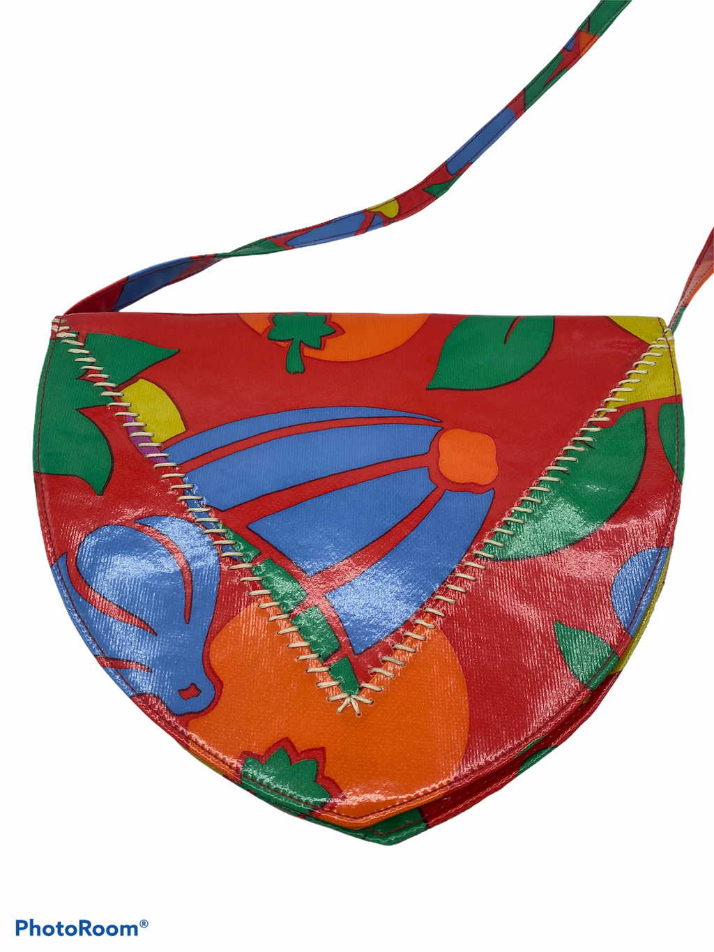 Charles Jourdan Patent Purse 80s with  Tropical Print Neon Shoulder Bag  FRONT 1 of 4