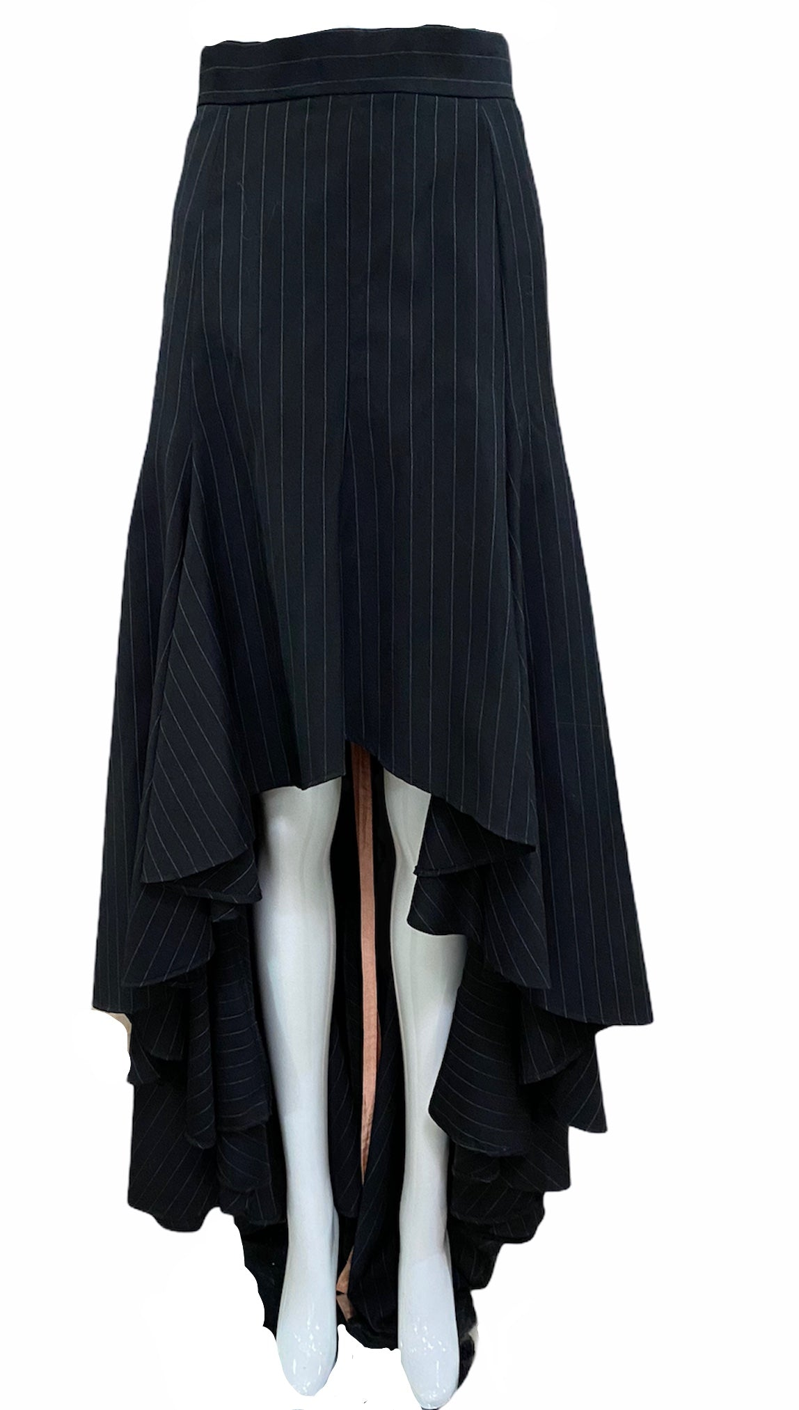 Vivienne Westwood 90s Black Pinstripe Equestrian Ensemble FRONT OF SKIRT 4 of 6