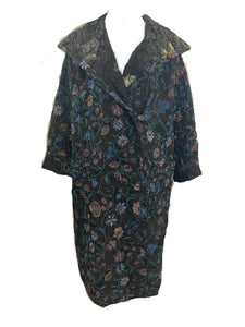 Emanuel Ungaro for Parellele 80s Copper Metallic Brocade Evening Coat FRONT 1 of 5