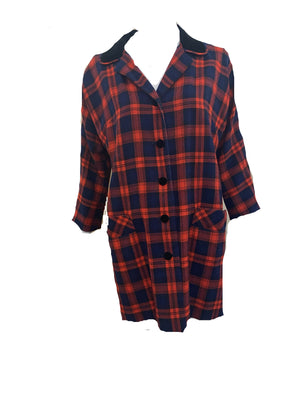 Aljean 60s 3 Piece Ensemble of Red and Blue Wool Plaid -Dress, Coat and Hat COAT 5 of 8