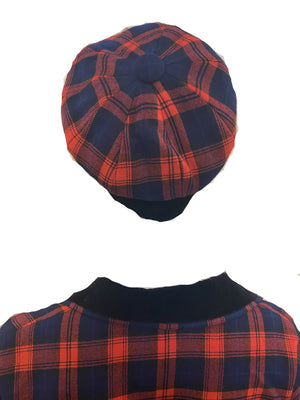 Aljean 60s 3 Piece Ensemble of Red and Blue Wool Plaid -Dress, Coat and Hat HAT 6 of 8