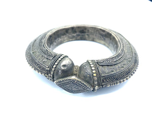 Yemeni Mid 20th Century Engraved Metal Bangle FRONT 1 of 3