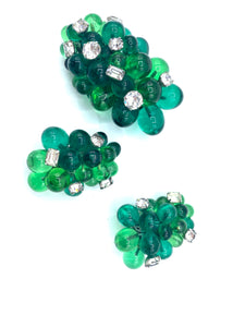 Eisenberg Green Glass Cluster Dress Clip and Earrings FRONT 1 of 4