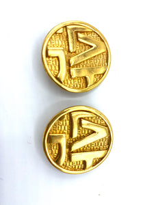 Ted Lapidus Logo Gold Tone Button Earrings on Original Card FRONT 1 of 3