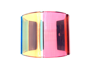 Valentino Lucite Rainbow Cuff Bracelet with Box ANGLE 3 4 of 6