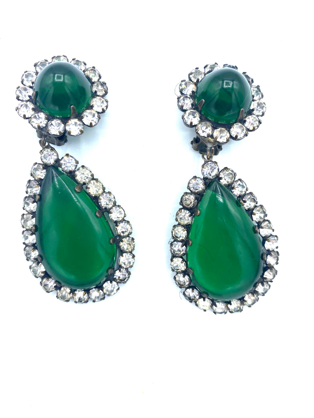 KJL 60s Emerald Green Teardrop Earrings FRONT 1 of 2