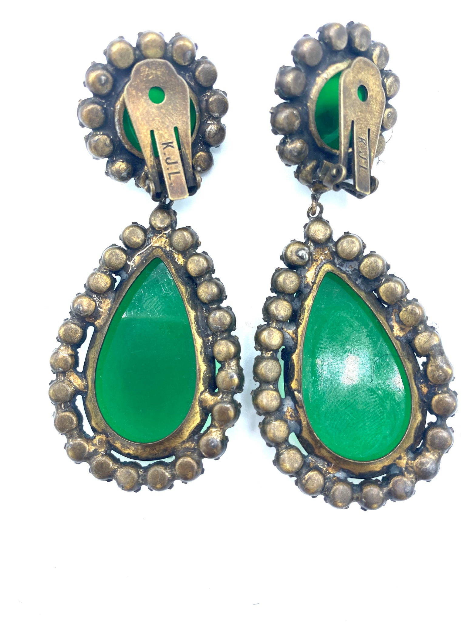 KJL 60s Emerald Green Teardrop Earrings, back