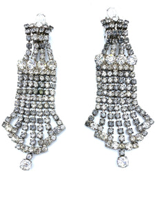 60s Unsigned XL Rhinestone Chandelier Earrings FRONT 1  of 2