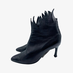 Rene Caty Black Goth Jagged Edged Booties SIDE 1 of 5