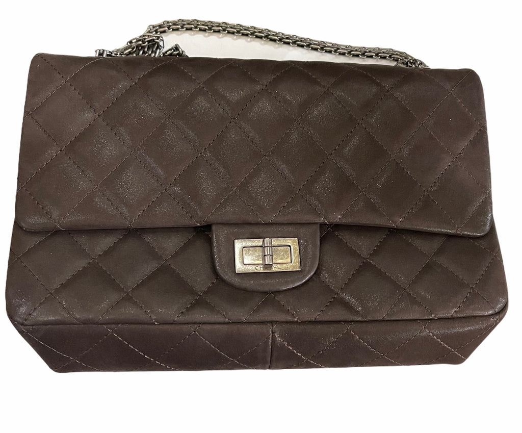 CHANEL Re-Issue 2.55 Flap Bag Quilted Glossy Brown FRONT 1 of 8