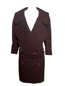Prada Early 2000s Chocolate Brown Heavy Coat FRONT 1 of 4