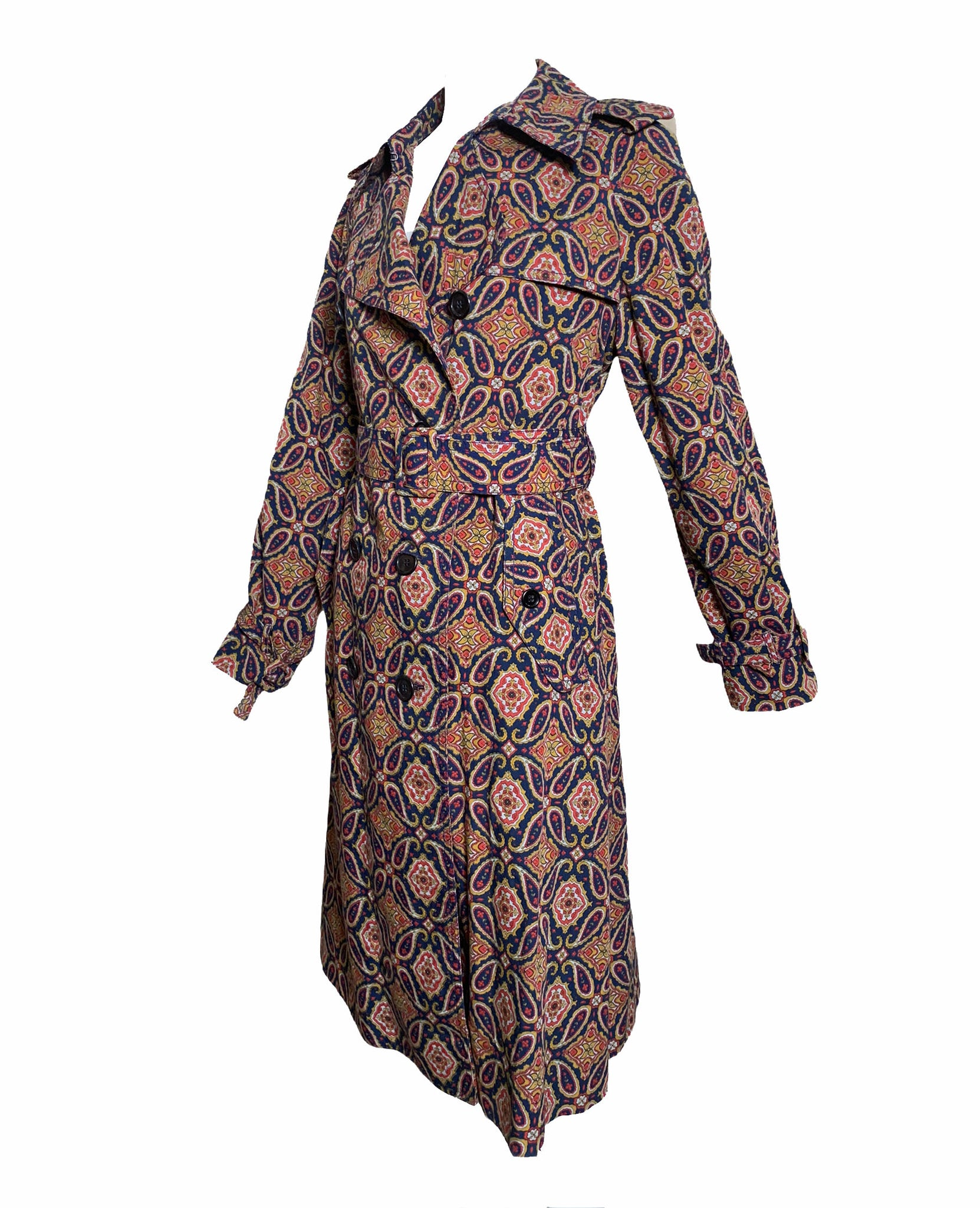 Dorso 70s Paisley Trench Coat SIDE 2 of 5