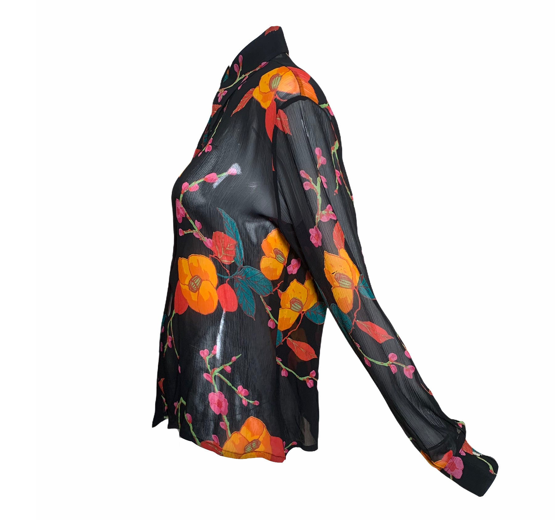 Franck Olivier Black Floral Chiffon Blouse SIDE 2 of 5