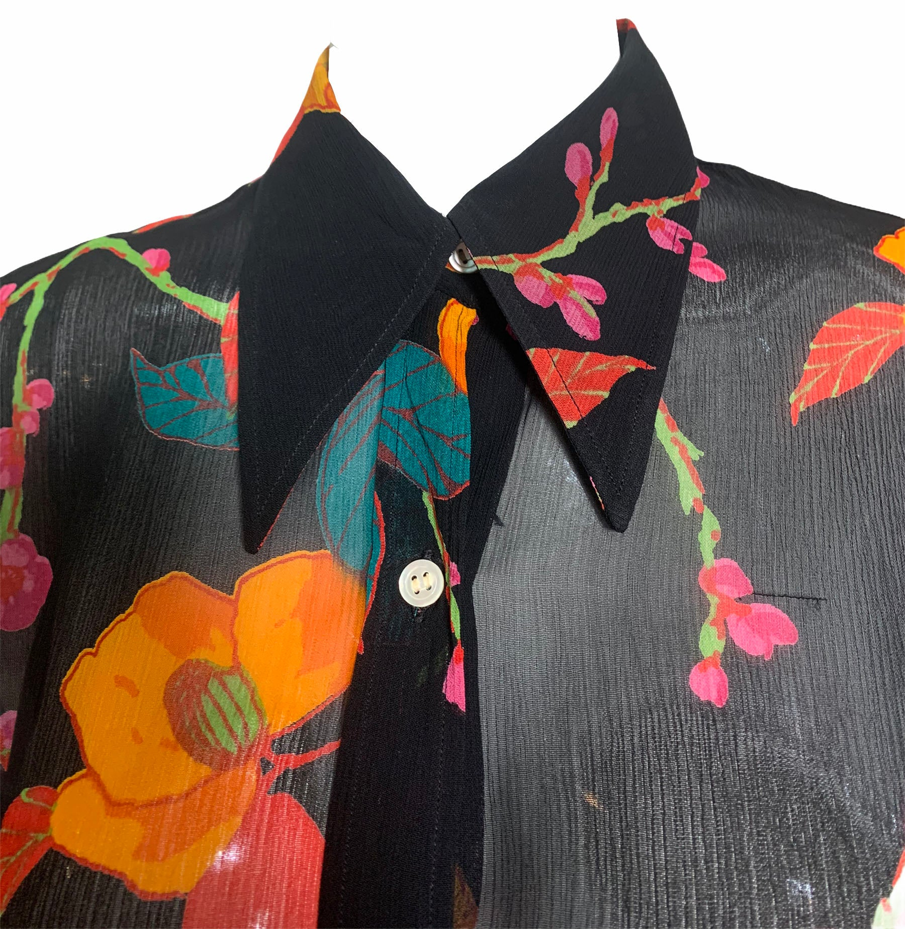 Franck Olivier Black Floral Chiffon Blouse DETAIL 4 of 5