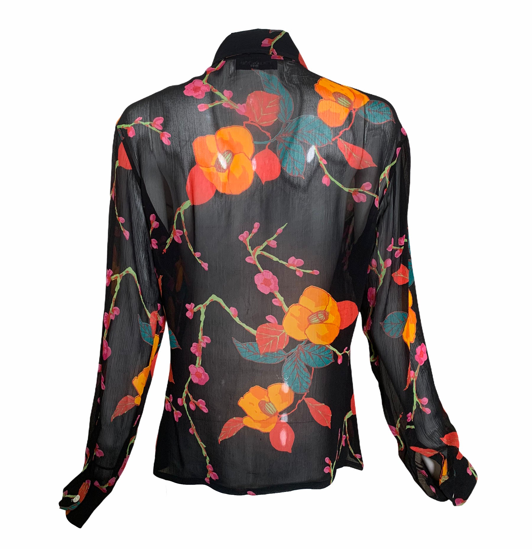 Franck Olivier Black Floral Chiffon Blouse BACK 3 of 5