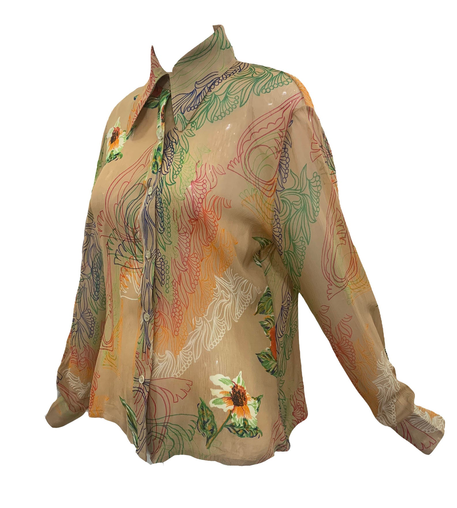 Franck Olivier 70s Blouse Nude with Wild Floral Print  SIDE 2 of 4