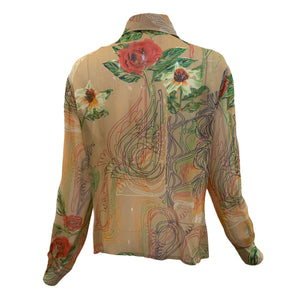 Franck Olivier 70s Blouse Nude with Wild Floral Print  BACK 3 of 4