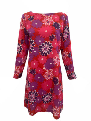 Jax 60s Red, Pink and Purple Floral Shift dress FRONT 1 of 4