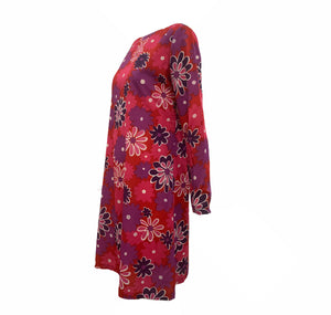 Jax 60s Red, Pink and Purple Floral Shift dress SIDE 2 of 4