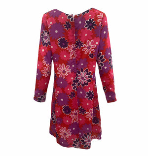 Jax 60s Red, Pink and Purple Floral Shift dress BACK 3 of 4
