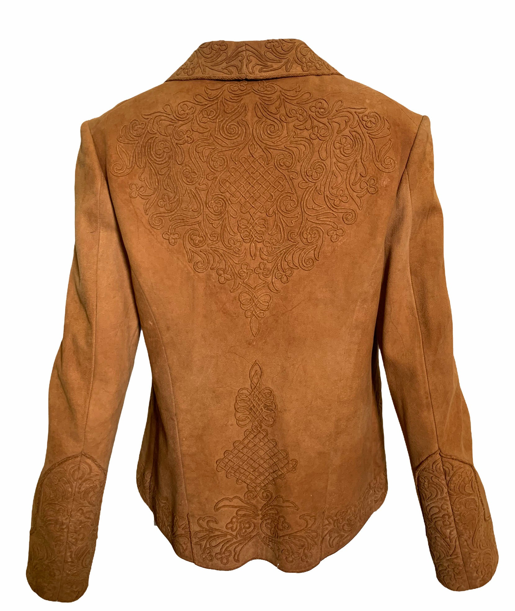 Argentinian 40s Tan Suede Jacket with Couched Trim  BACK 2 of 4
