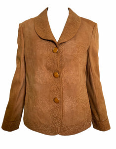 Argentinian 40s Tan Suede Jacket with Couched Trim  FRONT 1 of 4