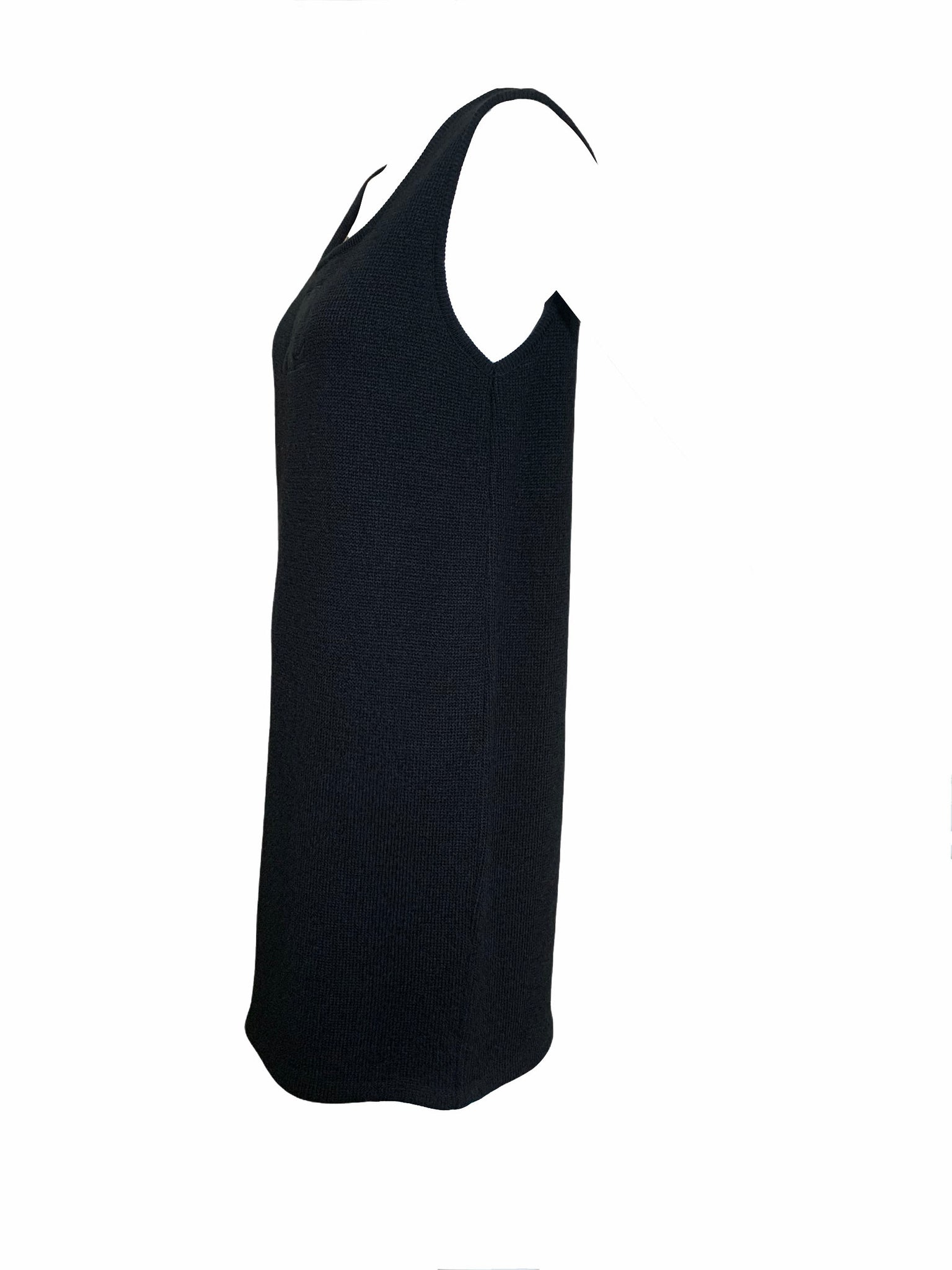 Courreges 80s Black Knit Tank Dress with Logo Side 2 of 4
