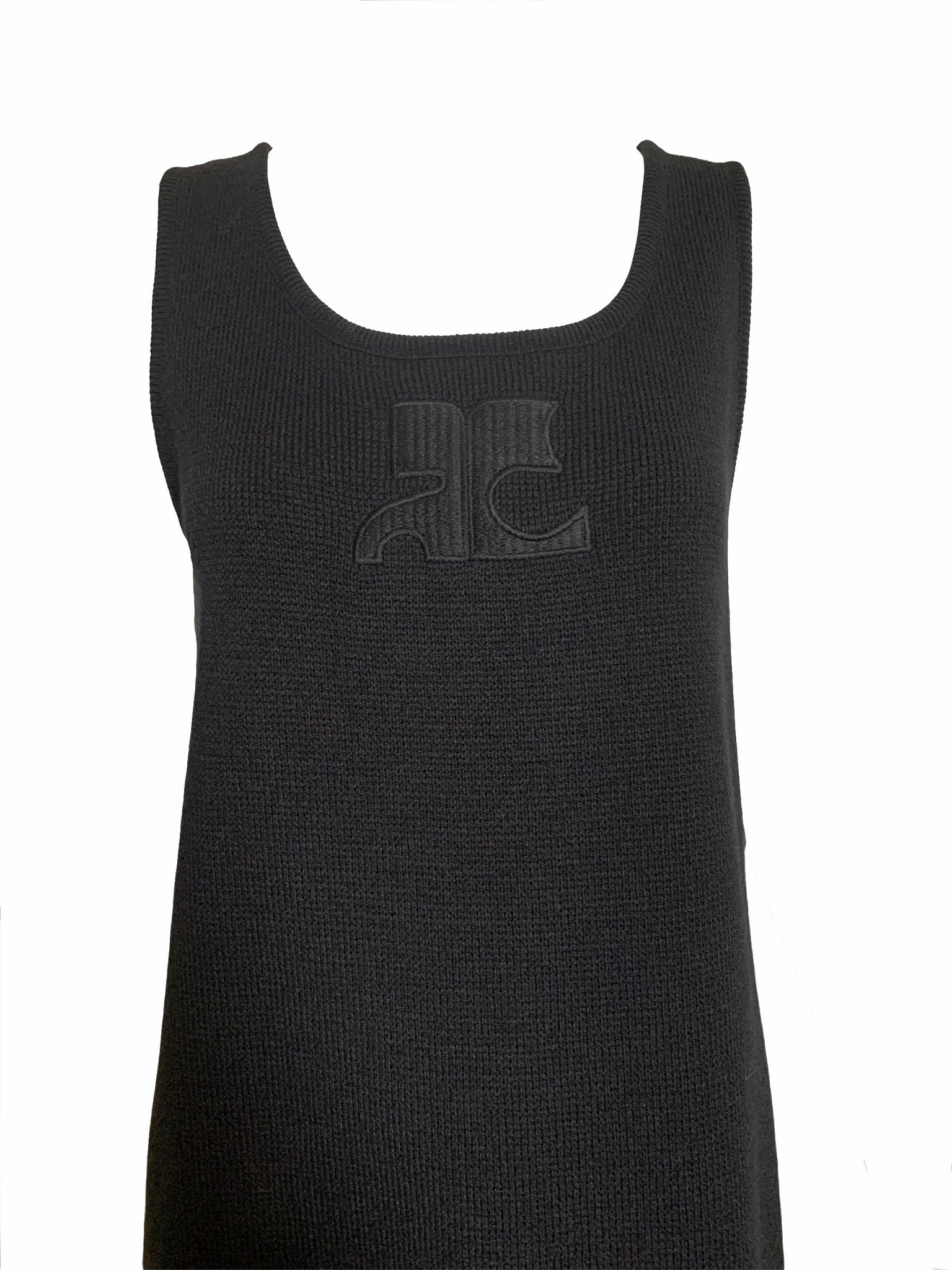 Courreges 80s Black Knit Tank Dress with Logo LOGO 4 of 4