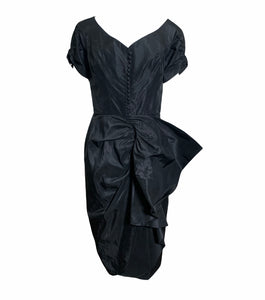 Ceil Chapman Gorgeous Black Taffeta Cocktail Dress FRONT 1 of 5