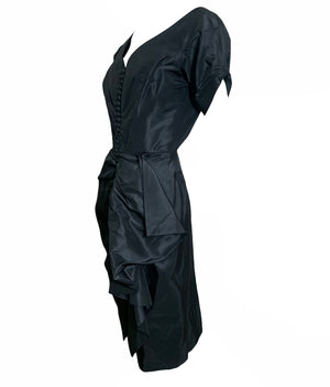 Ceil Chapman Gorgeous Black Taffeta Cocktail Dress SIDE 2 of 5
