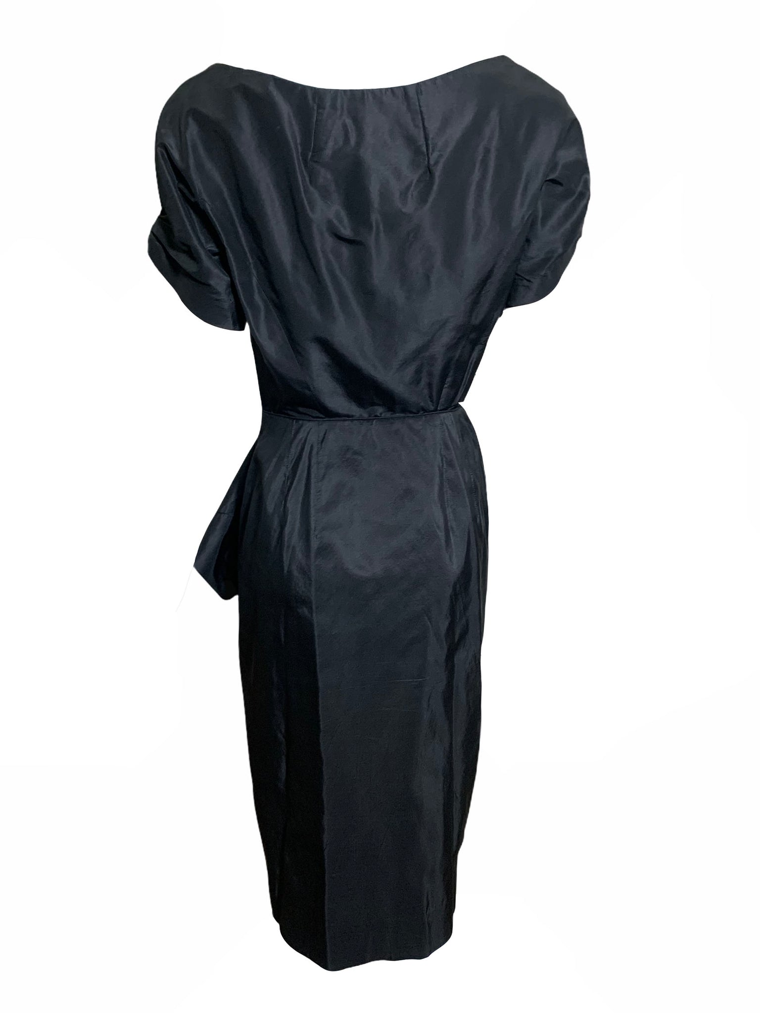 Ceil Chapman Gorgeous Black Taffeta Cocktail Dress BACK 3 of 5